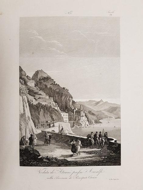 Stampa antica con veduta di Atrani presso Amalfi di Attilio Zuccagni Orlandini