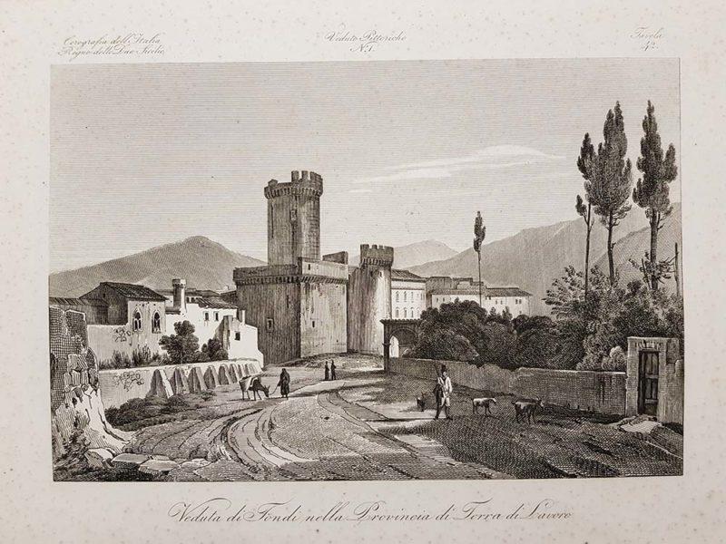 Stampa antica di Zuccagni Orlandini raffigurante una veduta di Fondi
