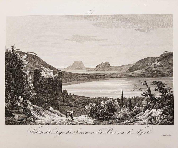 Stampa antica di Zuccagni Orlandini, veduta del lago di Averno