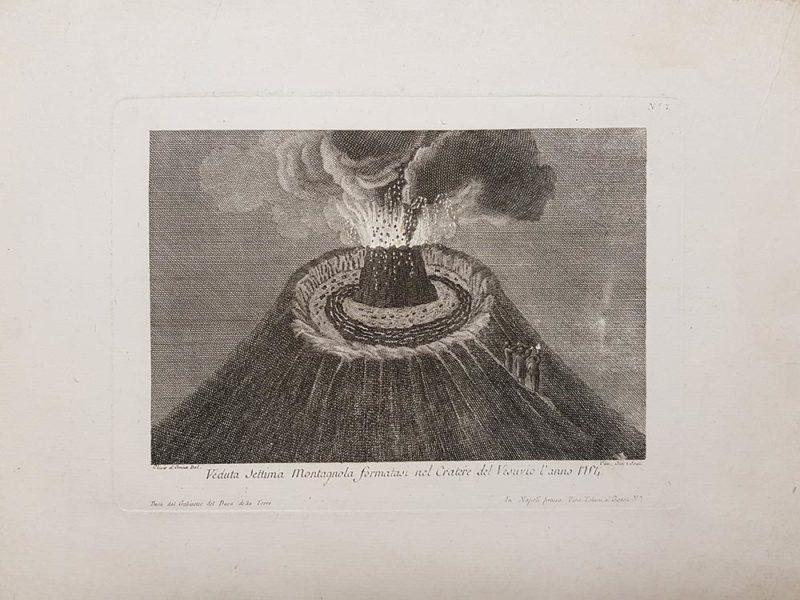 """Stampa antica del Duca della Torre Ascanio Filomarino, """"Veduta Settima Montagnola formatasi nel Cratere del Vesuvio dell'anno 1754"""""""