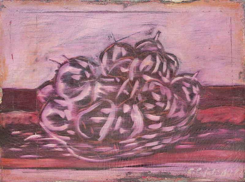 Dipinto di Enrico Cajati raffigurante cesto con frutta