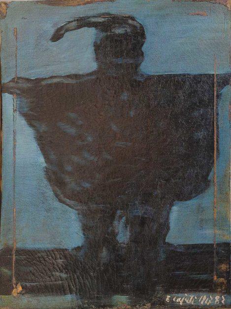 Dipinto di Enrico Cajati raffigurante Notturno con Pulcinella