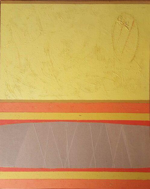 """Dipinto astratto del pittore Gianni Rossi, """"Paesaggio della mia terra: natura geometrizzata in termini attuali"""", colori acrilici e carta vetro su tela 100 x 80 cm del 2007"""