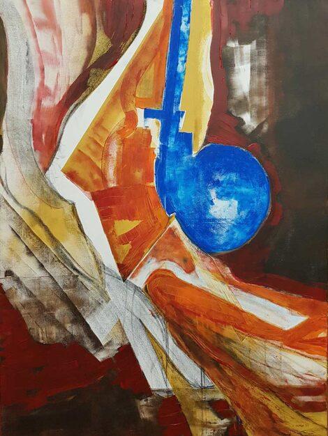 Dipinto astratto dell'artista Zanga Eduardo, tecnica mista su tela 120x90 cm del 2021 titolo Afrodite