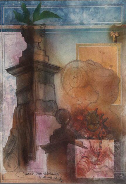 """Dipinto di Mario Buonoconto raffigurante lo """"Studio di Villa Vesuviana"""""""