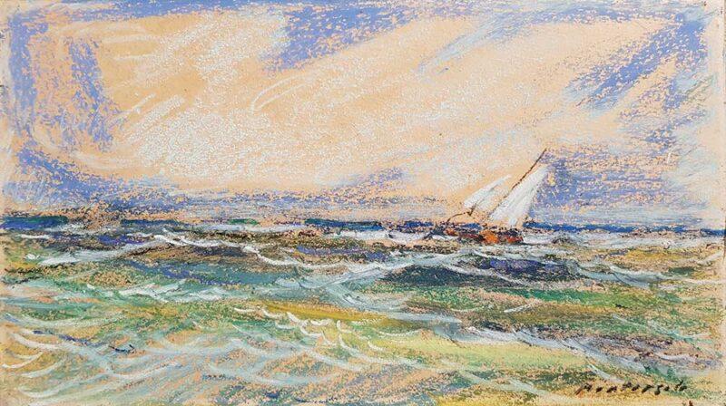 """Dipinto di Carlo Montarsolo, """"Marina con vento di maestrale"""""""