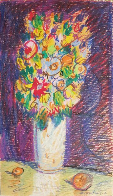 Dipinto di Carlo Montarsolo pittore, fiori di campo su fondo viola