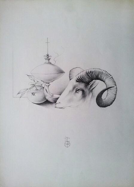 """Disegno di Umberto Piezzo del 1975 """"Natura morta pasquale"""""""
