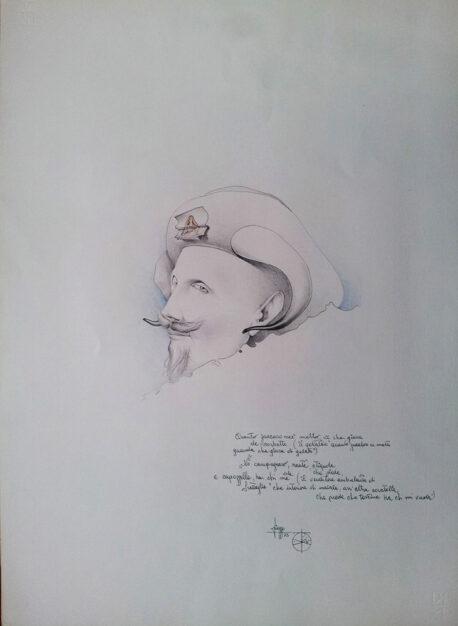 """Disegno di Umberto Piezzo del 1975 """"Venditore ambulante di frattaglie"""""""