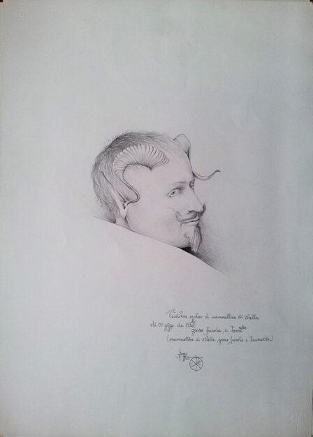 """Disegno di Umberto Piezzo del 1975 """"Venditore erotico di mammelline di vitella"""""""