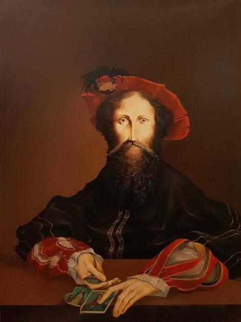 Quadro dipinto dal pittore Umberto Piezzo dal titolo Venditore di elemosine del 1975