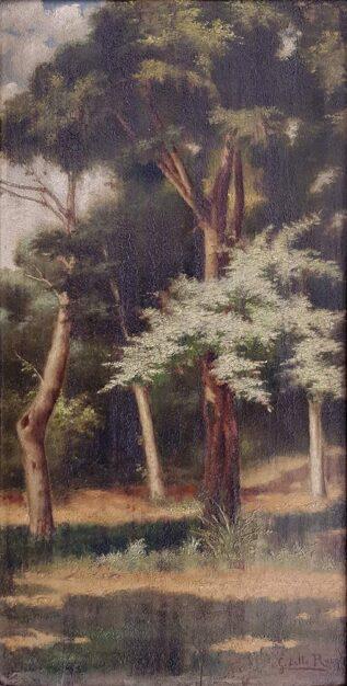 """Dipinto originale di Giuseppe dello Russo """"Nel bosco"""", olio su tavola"""