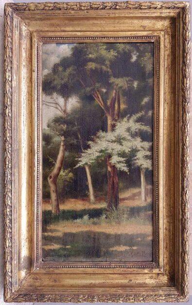 """Dipinto originale di Giuseppe dello Russo """"Nel bosco"""", olio su tavola con cornice coeva"""