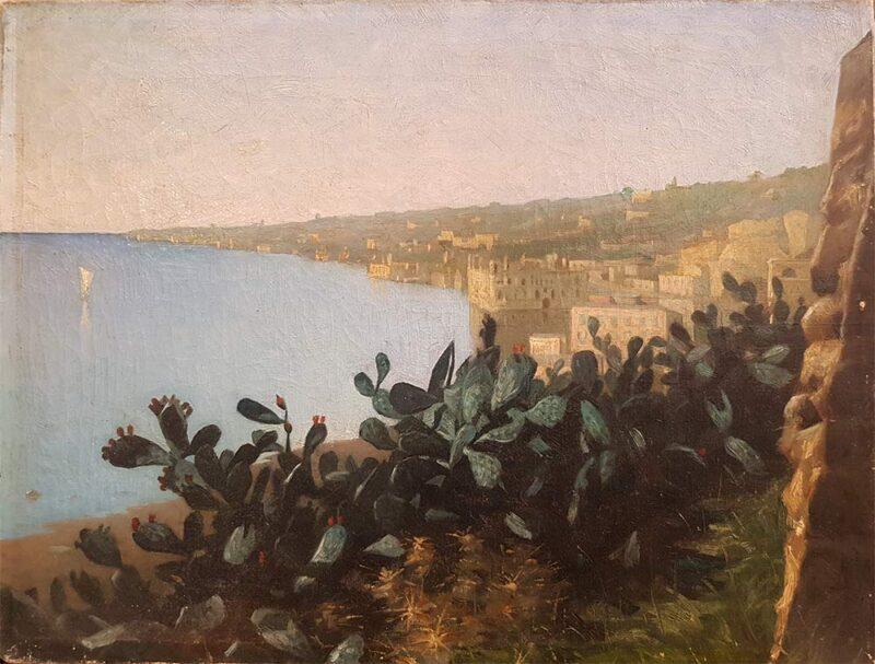"""Dipinto originale del 1889 firmato V. Koniemp, """"Napoli, Palazzo Donn'Anna"""""""