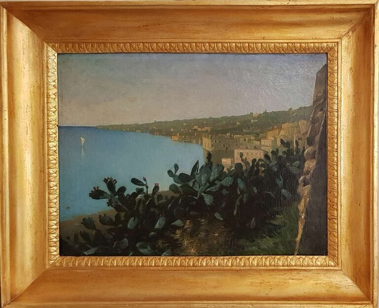 """Dipinto originale del 1889 firmato V. Koniemp, """"Napoli, Palazzo Donn'Anna"""" con cornice coeva"""