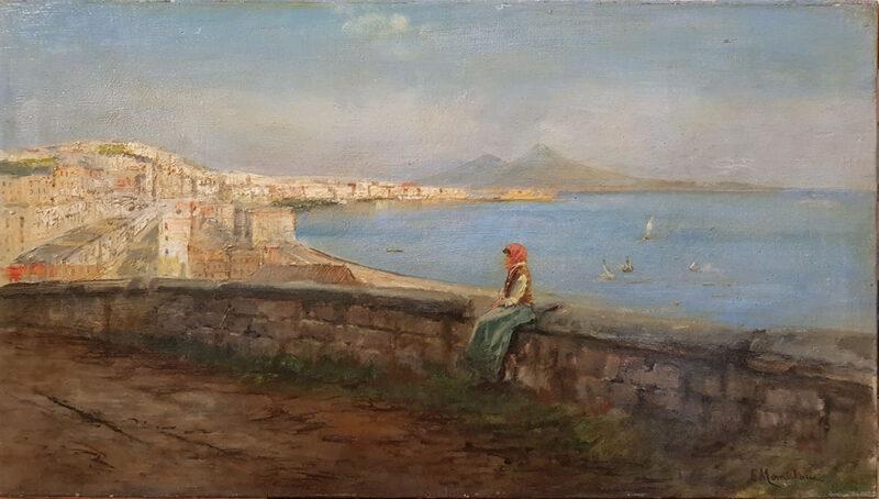 """Dipinto originale di Eduardo Monteforte, """"Veduta del golfo di Napoli"""""""