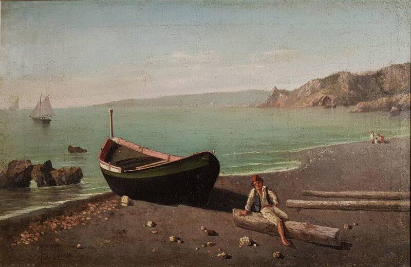 """Dipinto originale di Francesco Saverio Torcia """"Sulla spiaggia"""", olio su tela"""