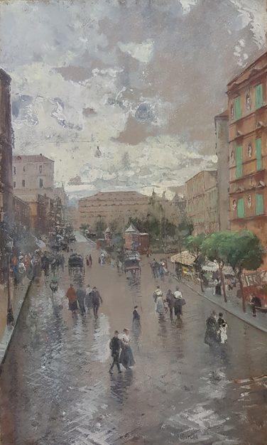 Dipinto del pittore Attilio Pratella (1856-1949), raffigurante Napoli - Via Foria verso il Museo